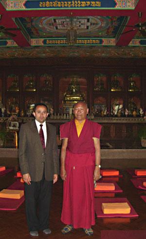 Dilli Prasad Oli (director) with monk in Phulbari, Gumba